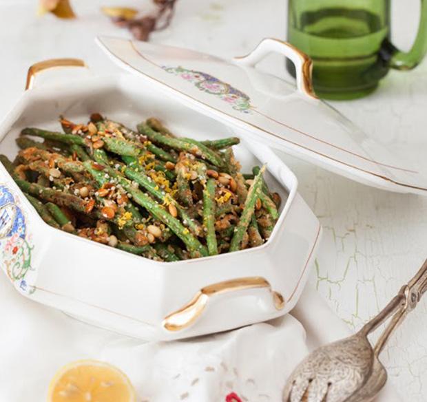 Zielona fasolka z nasionami konopi i serem pleśniowym, GrubyLoL.com